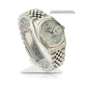 Rolex Accessories - Rolex Mens Datejust Silver Diamond Dial 36mm